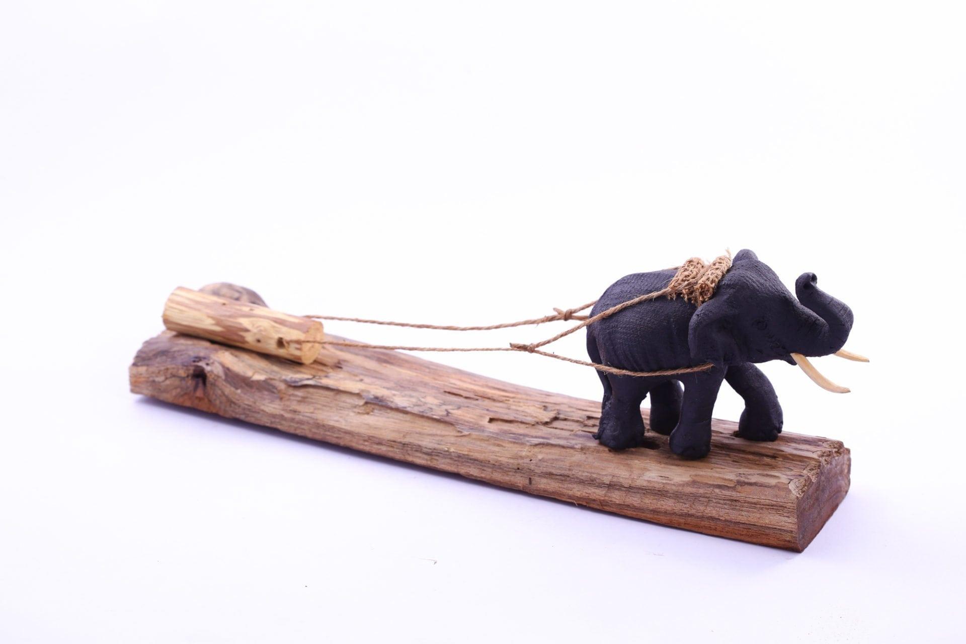 Sawdust Elephant On Wood Figurines