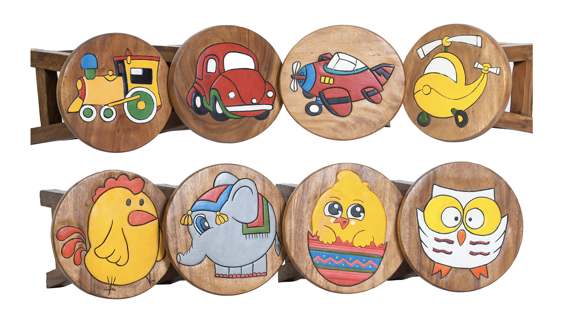 A variety of designs of childrens wooden stools for wholesale