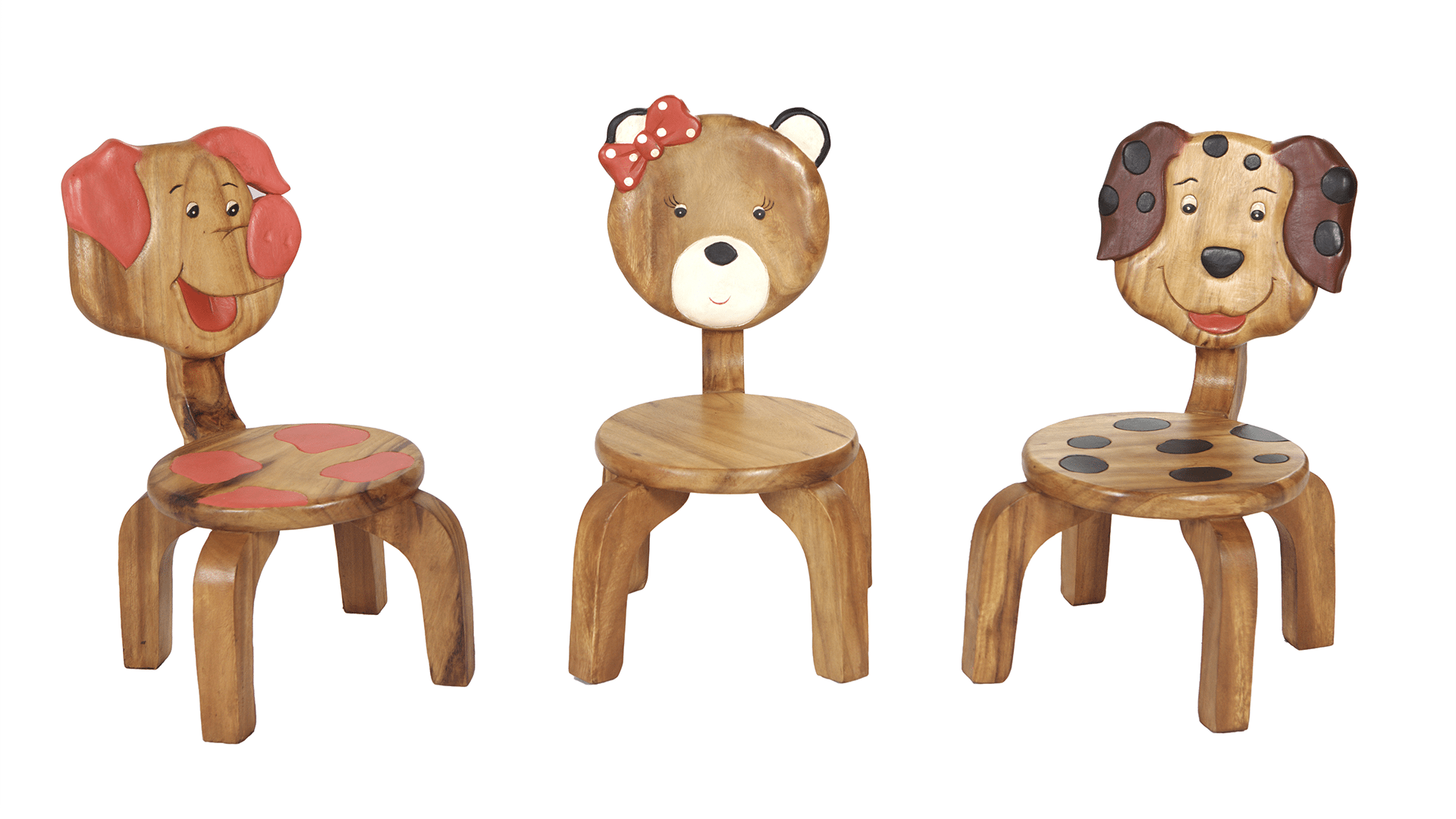 Hand crafted childrens wooden chairs in numerous designs
