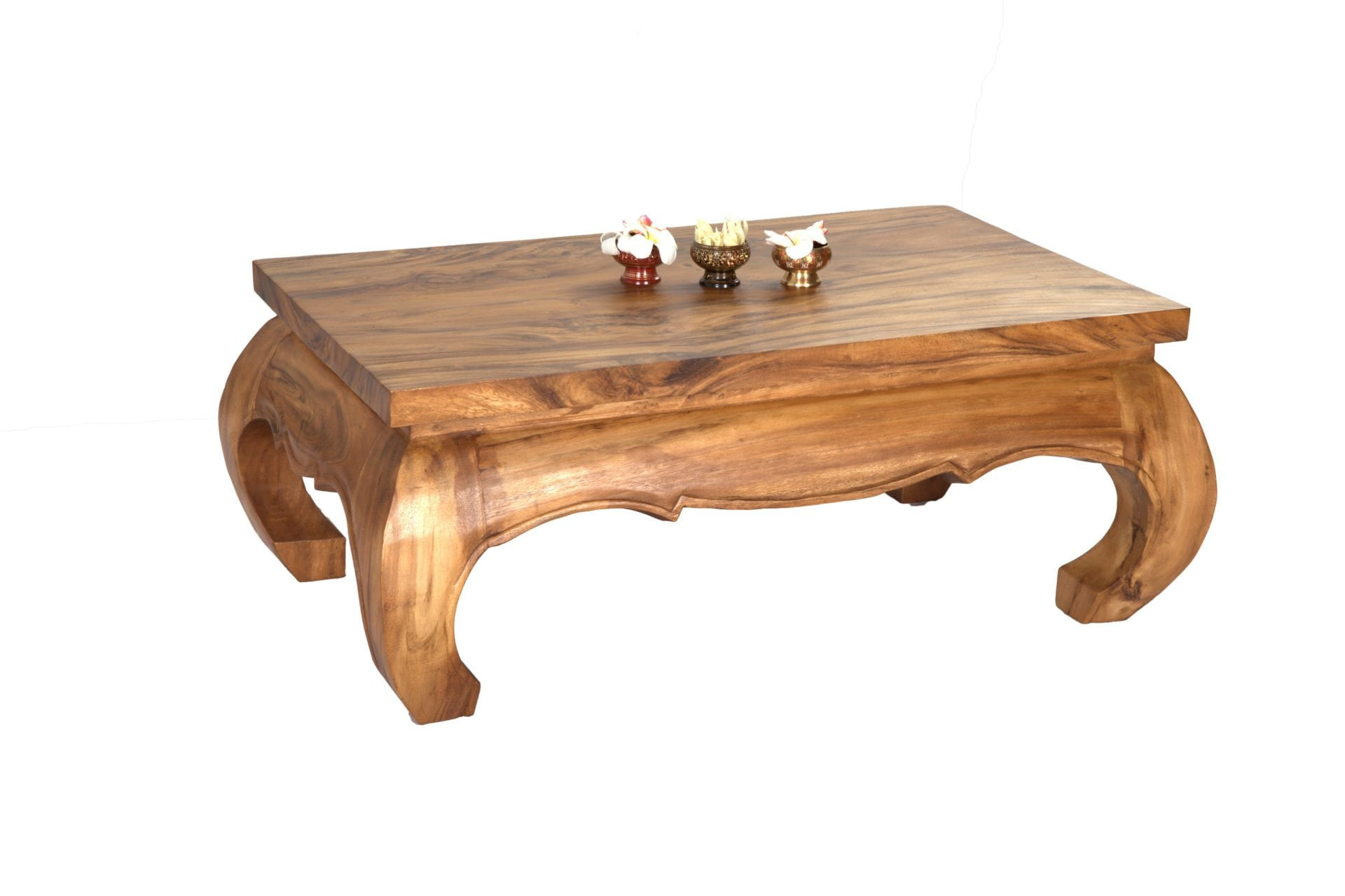 Long Thai opium coffee table handmade from Monkey Pod wood for wholesale