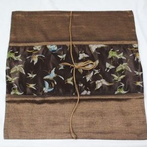 Thai cushion cover in brown color with dragonfly pattern