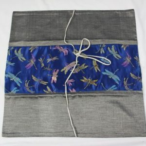 Thai cushion cover in gray color with dragonfly design