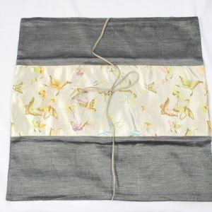 Thai cushion cover in dark gray color with butterfly pattern