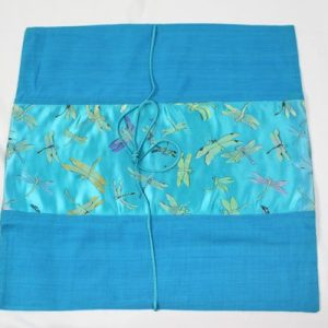 Thai cushion cover in blue color with dragonfly pattern