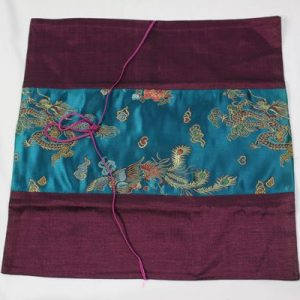 Thai cushion cover in purple color with dragon pattern