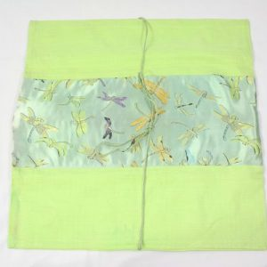 Thai cushion cover in green color with dragonfly design