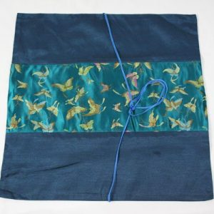 Thai cushion cover in prussian blue color with butterfly pattern