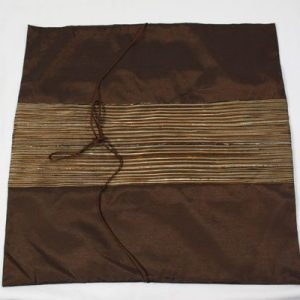 Thai cushion cover in brown color with golden stripes