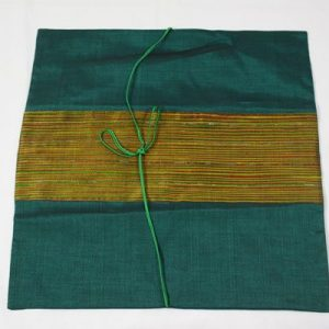 Thai cushion cover in turquoise color with golden stripes
