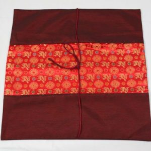 Thai cushion cover in carmine color with thai painting design