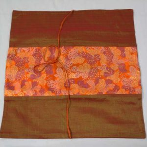 Thai cushion cover in scarlet color with floral design