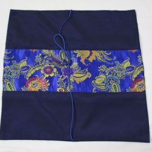 Thai cushion cover in blue color with flower pattern