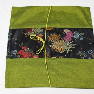 Thai cushion cover in green color with floral pattern