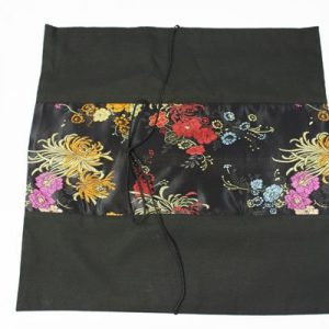 Thai pillow cover in black color with floral design