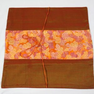 Thai pillow cover in orange color with floral design