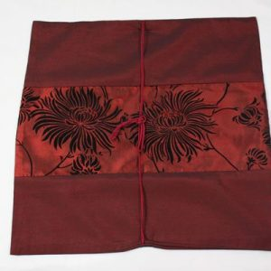 Thai cushion cover in carmine color with floral design