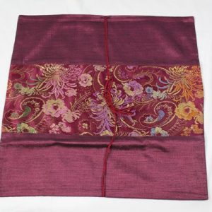 Thai cushion cover in violet color with floral design