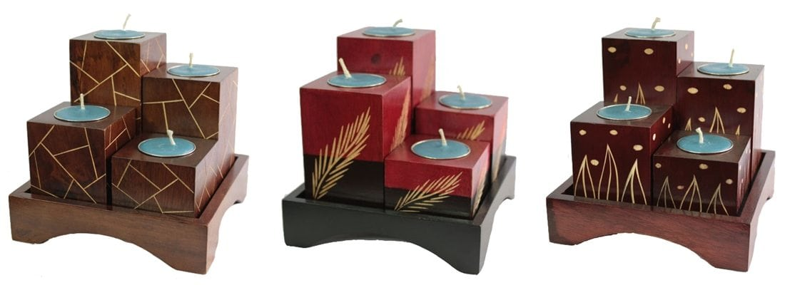 Mango Wood Candle Holder Set