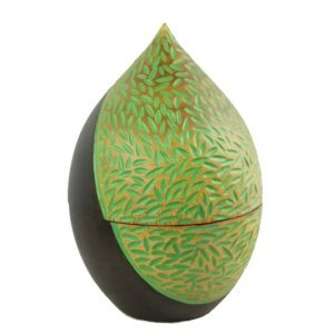Thailand handicrafts Wholesale Mango Wood Container in brown color with green spots