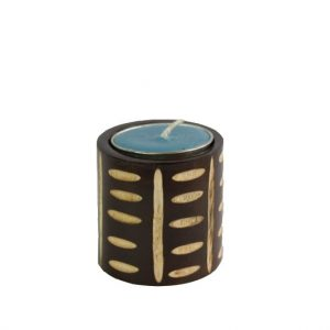 Mango Wood Cylinder Candle Holder with tribes design
