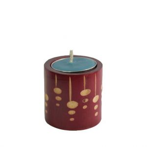 Mango Wood Cylinder Candle Holder with dot design