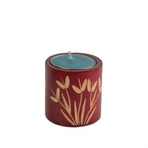 Thailand handicrafts Wholesale Mango Wood Cylinder Candle Holder with leaf pattern
