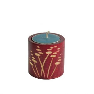 Mango Wood Cylinder Candle Holder with leaf pattern