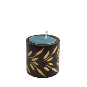 Chiang Mai handicrafts Wholesale Mango Wood Cylinder Candle Holder with leaf design