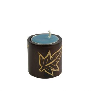 Mango Wood Cylinder Candle Holder with leaf design