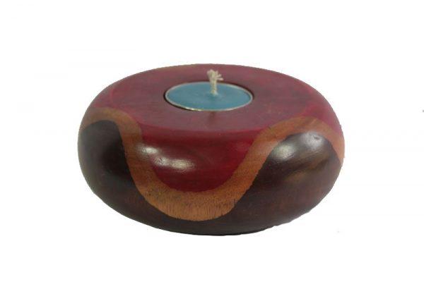 Thailand handicrafts Wholesale Mango Wood Round Candle Holder with stripes pattern