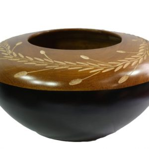 Mango Wood Round Candle Holder with leaf pattern