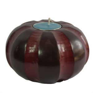 Thailand handicrafts Wholesale Mango Wood Round Candle Holder with pumpkin pattern