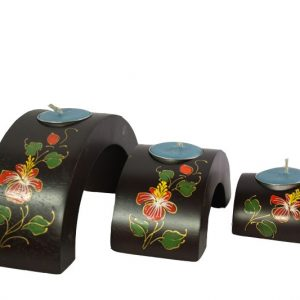 Mango Wood Hexagon Candle Holder Set with flower pattern