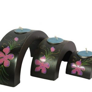 Mango Wood Hexagon Candle Holder Set with flower design