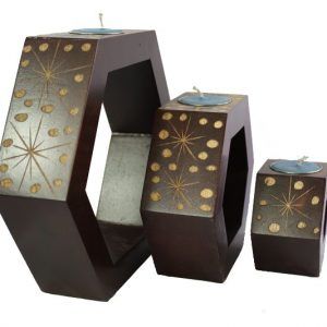 Mango Wood Hexagon Candle Holder Set with spots design