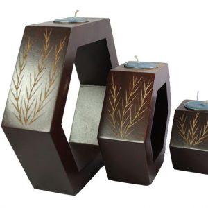 Mango Wood Hexagon Candle Holder Set with leaf design