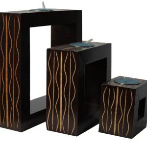 Mango Wood Rectangle Candle Holder Set with stripes design
