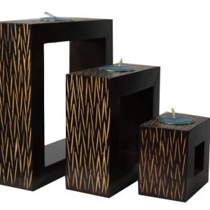 Mango Wood Rectangle Candle Holder Set with stripes pattern