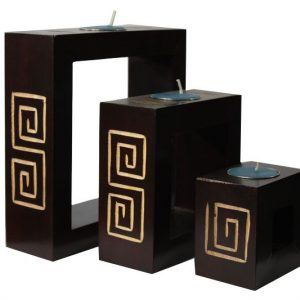 Mango Wood Rectangle Candle Holder Set with Maze design