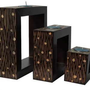 Mango Wood Rectangle Candle Holder Set with spots and stripes design
