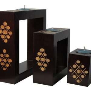Mango Wood Rectangle Candle Holder Set with spots design