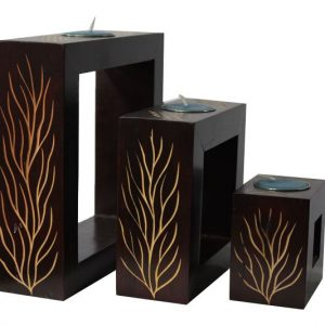 Mango Wood Rectangle Candle Holder Set with leaf design