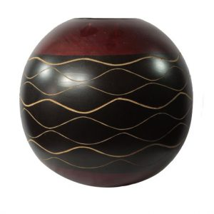 Chiang Mai Handicrafts Wholesale Mango Wood Round Candle Holder with stripes pattern