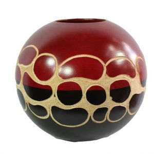 Thailand Handicrafts Wholesale Mango Wood Round Candle Holder with spots design