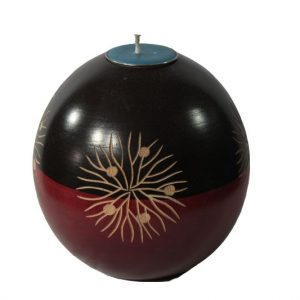 Mango Wood Round Candle Holder with floral pattern
