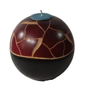 Thailand Handicrafts Wholesale Mango Wood Round Candle Holder with stripes pattern