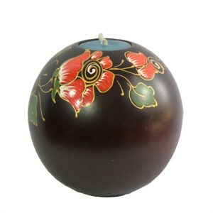 Chiang Mai handicrafts Wholesale Mango Wood Round Candle Holder with floral pattern
