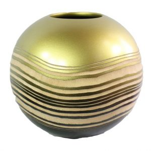 Thailand handicrafts Wholesale Mango Wood Round Candle Holder with stripes design