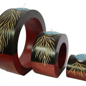 Chiang Mai handicrafts Wholesale Mango Wood Round Candle Holder Set with leaf pattern