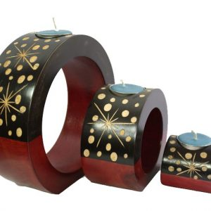 Mango Wood Round Candle Holder Set with star design